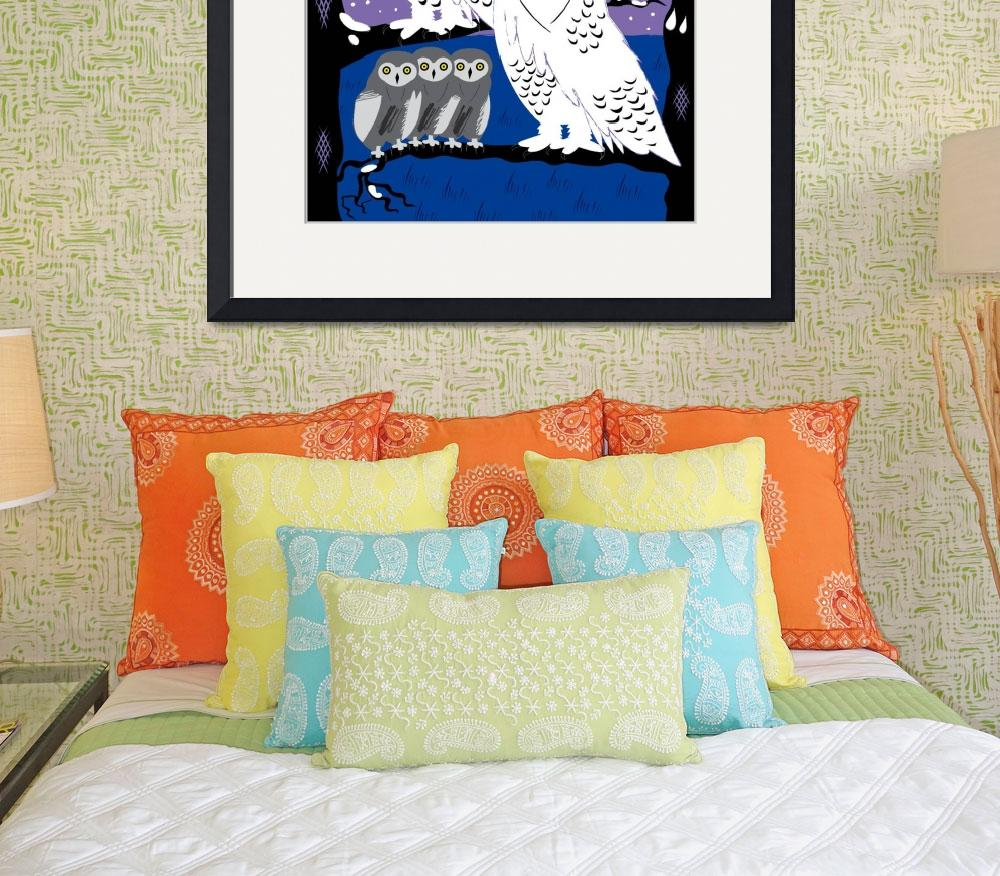 """""""Snowy Owls and Offspring - Limited Edition Print&quot  (2010) by iotaillustration"""