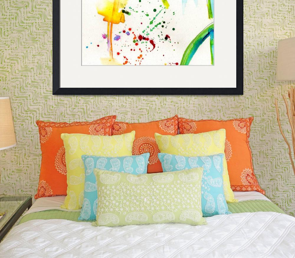 """Summer Splish Splash Abstract Watercolor""  (2014) by GinetteCallaway"