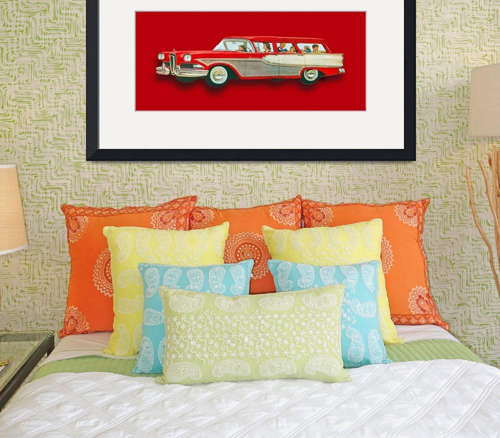 """Edsel Car Advertisement Wagon Red&quot  (2015) by RubinoFineArt"
