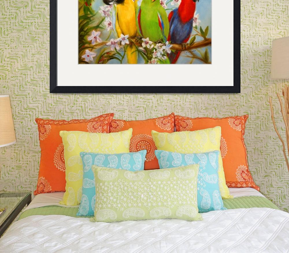 """""""The Three Tenors- Parrots and Orchids by Violano&quot  (2012) by stella"""