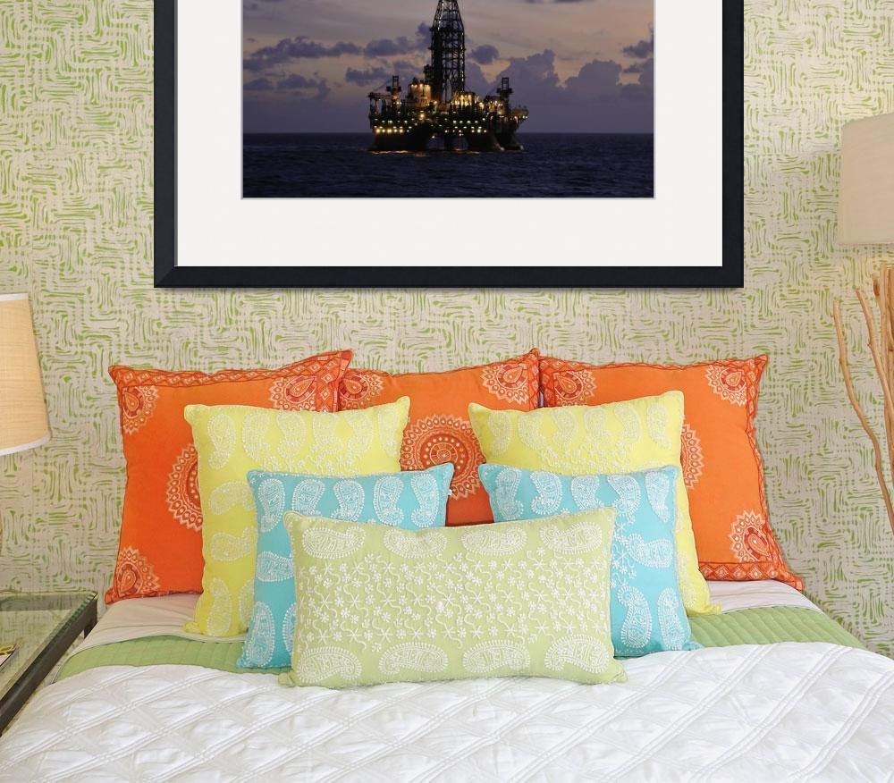 """""""Offshore oil rig with&quot  (2009) by Landbysea"""