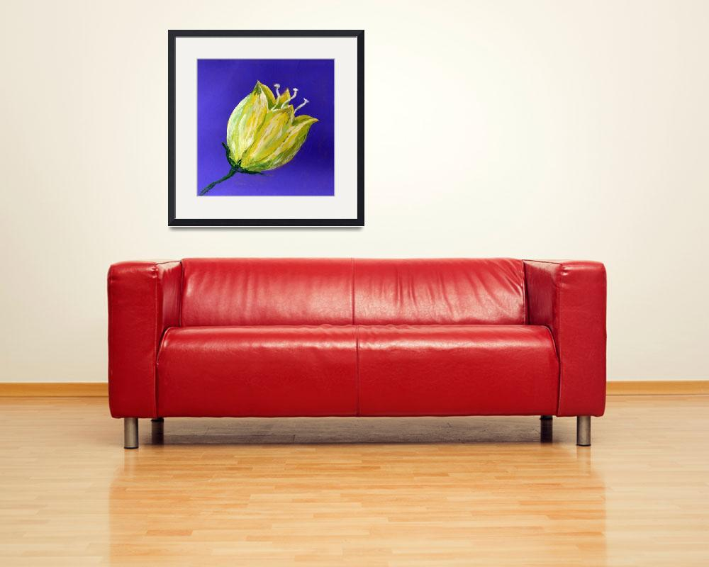 """""""yellow tulip on purple acrylic painting&quot  (2017) by dlmtleArt"""