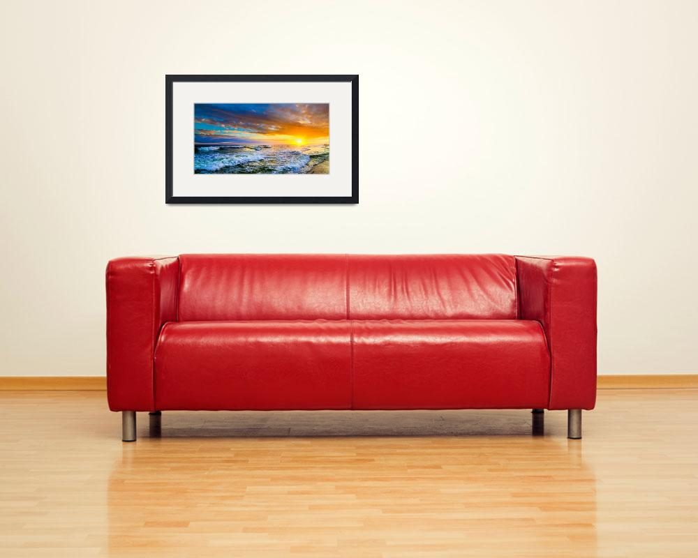 """""""Red sunset panorama red ocean sunset with waves&quot  (2014) by eszra"""