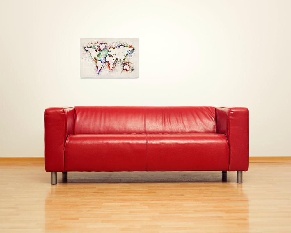 """""""Map of the World Paint Splashes&quot  (2012) by ModernArtPrints"""