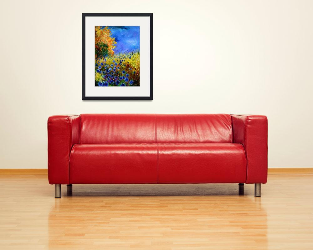 """""""Blue poppies and orange tree&quot  by pol"""