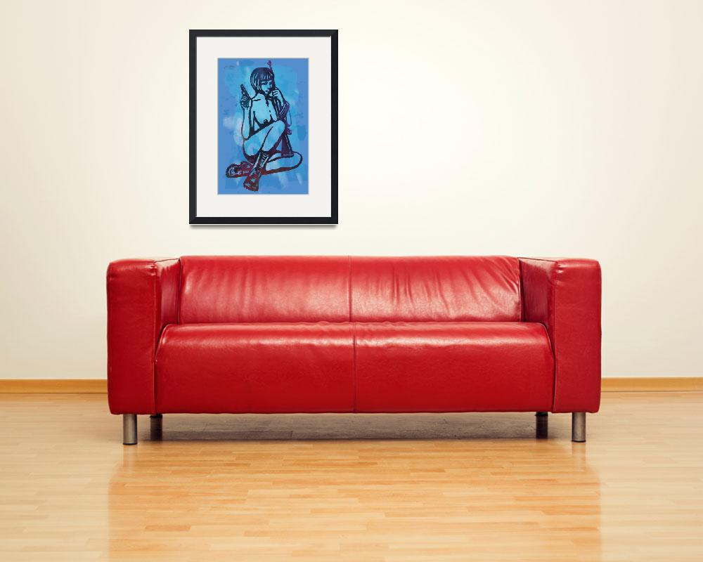 """""""Nude Girl With Guns Pop Art Poster&quot  (2014) by visualharbour"""