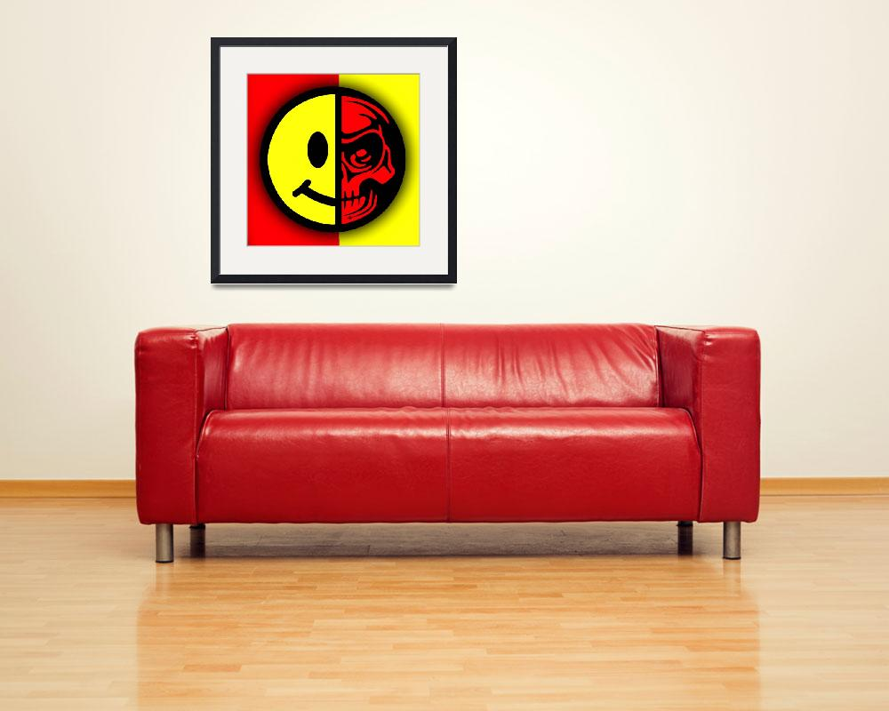 """""""Smiley Face Skull Yellow Red Shadow&quot  (2018) by RubinoFineArt"""