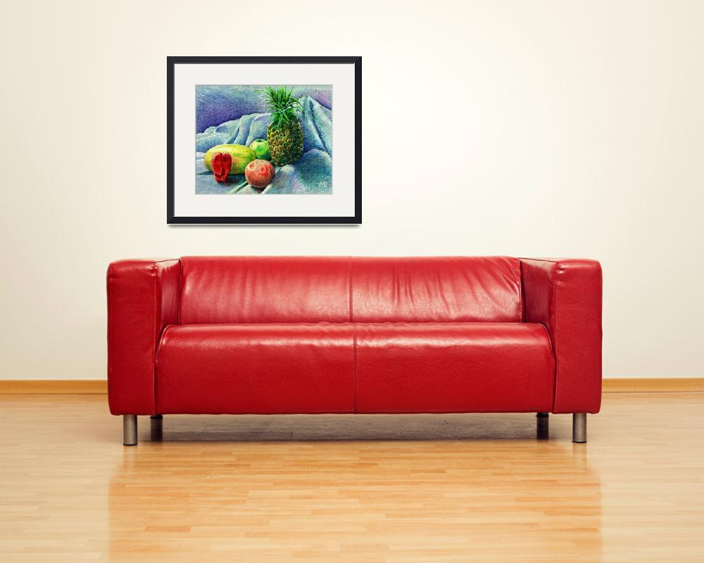 """""""Pineapple & fruit still life&quot  (1994) by sboyle"""