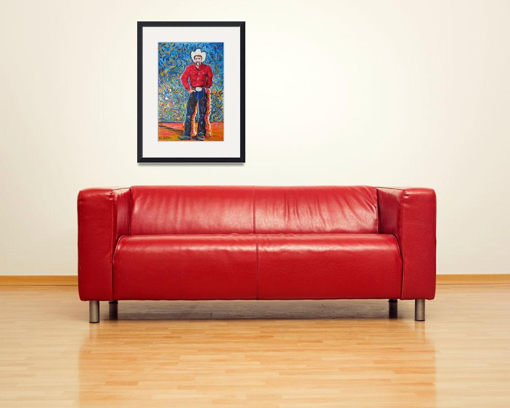 """Cowboy with Red Shirt&quot  (1996) by RDRiccoboni"