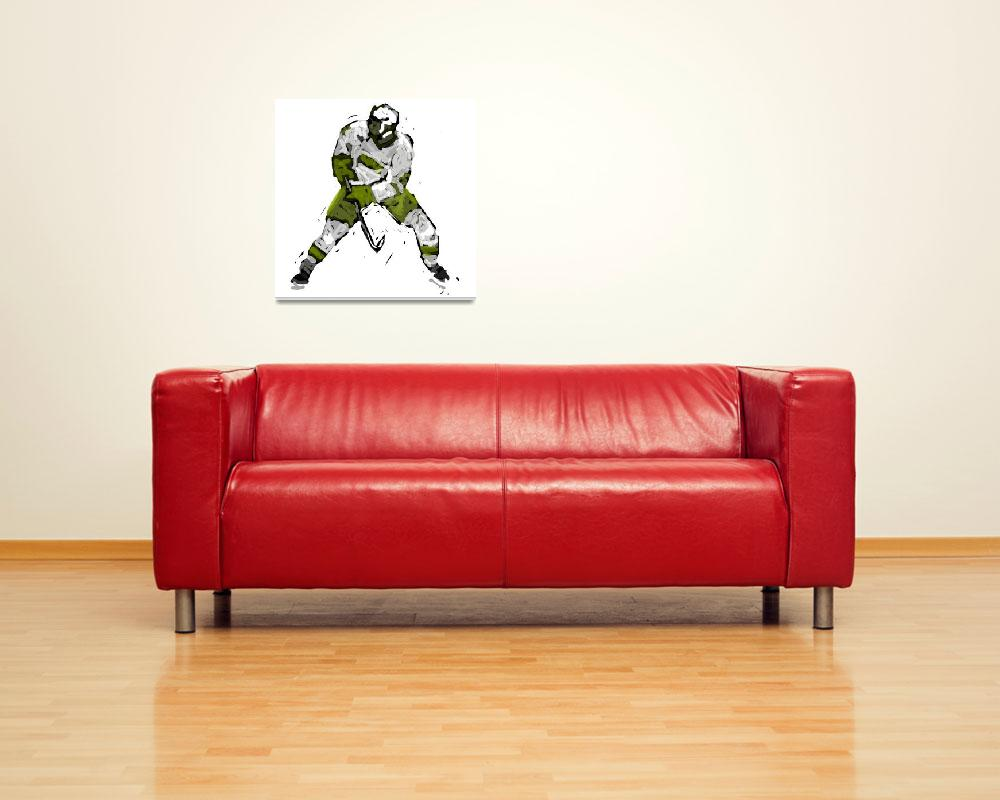 """""""Hockey Defenseman green white charcoal (c)&quot  (2014) by edmarion"""