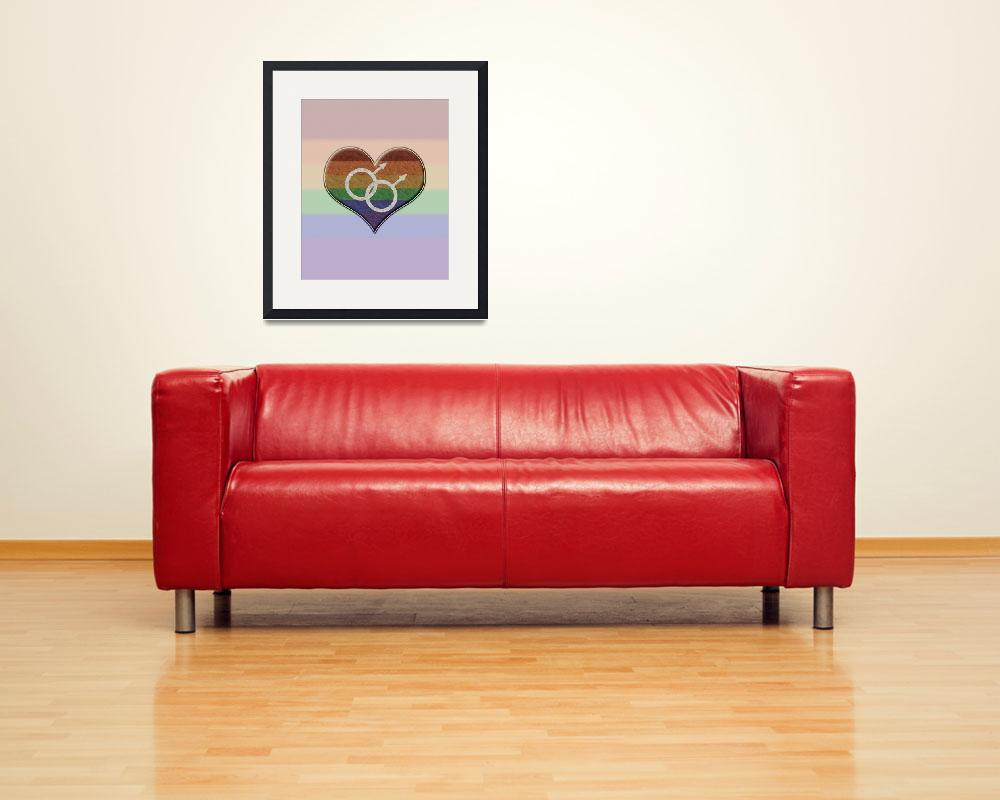 """""""Gay Pride Rainbow Heart with Male Gender Symbol&quot  (2013) by LiveLoudGraphics"""