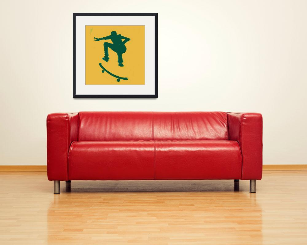 """Skateboarder 2 . gold green (c)&quot  (2014) by edmarion"