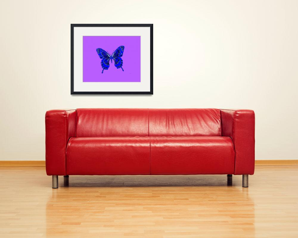 """Blue Butterfly Lavender Background""  (2013) by TheNorthernTerritory"