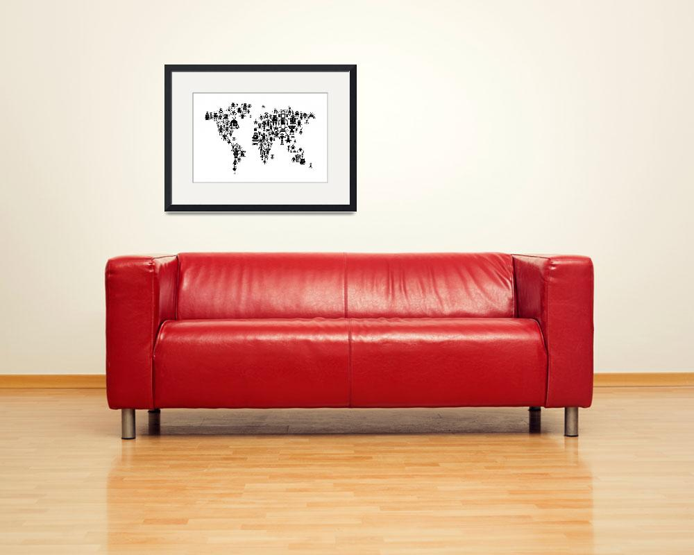 """Robot Map of the World Map&quot  (2015) by ModernArtPrints"