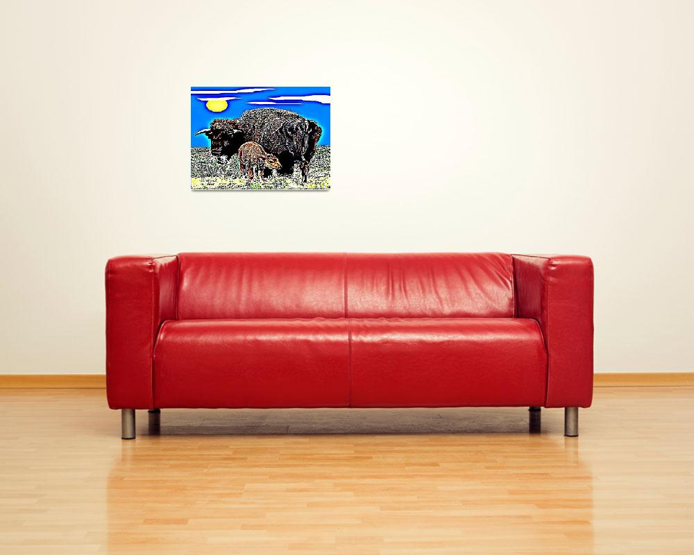 """Buffalo and Calf&quot  (2015) by davegafford"