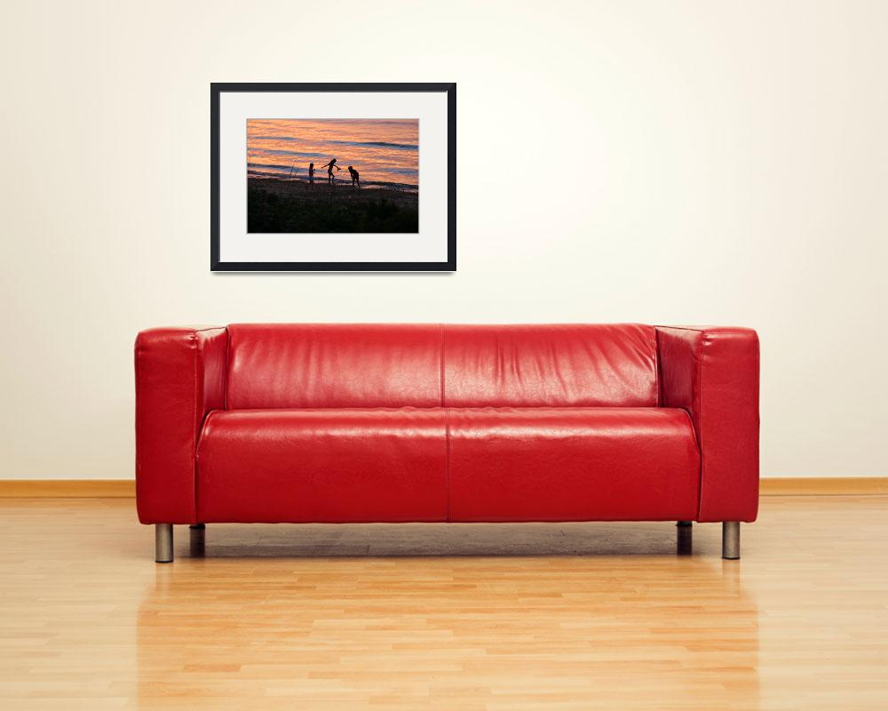 """""""Children at Waters Edge at Sunset""""  (2009) by SteveBaty"""