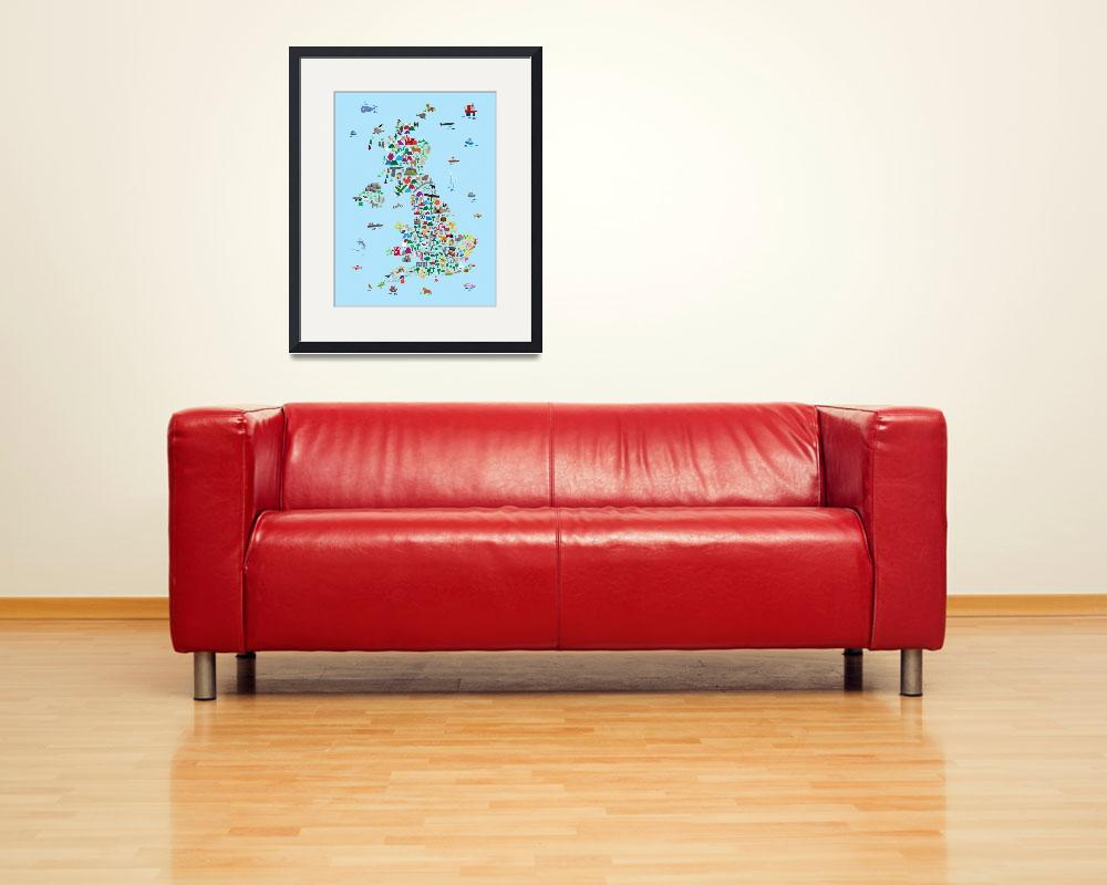"""Animal Map of Great Britain & NI for children and""  by ModernArtPrints"