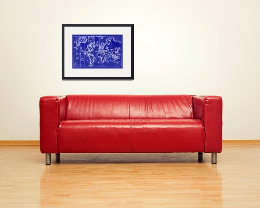 """""""World Map (1766) Blue & White&quot  by Alleycatshirts"""
