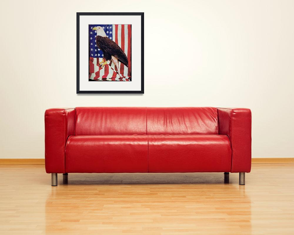 """""""American Bald Eagle and US Flag&quot  (2010) by birthdaygifts"""
