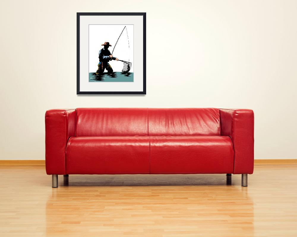 """""""fly fisherman with rod and reel&quot  (2013) by patrimonio"""