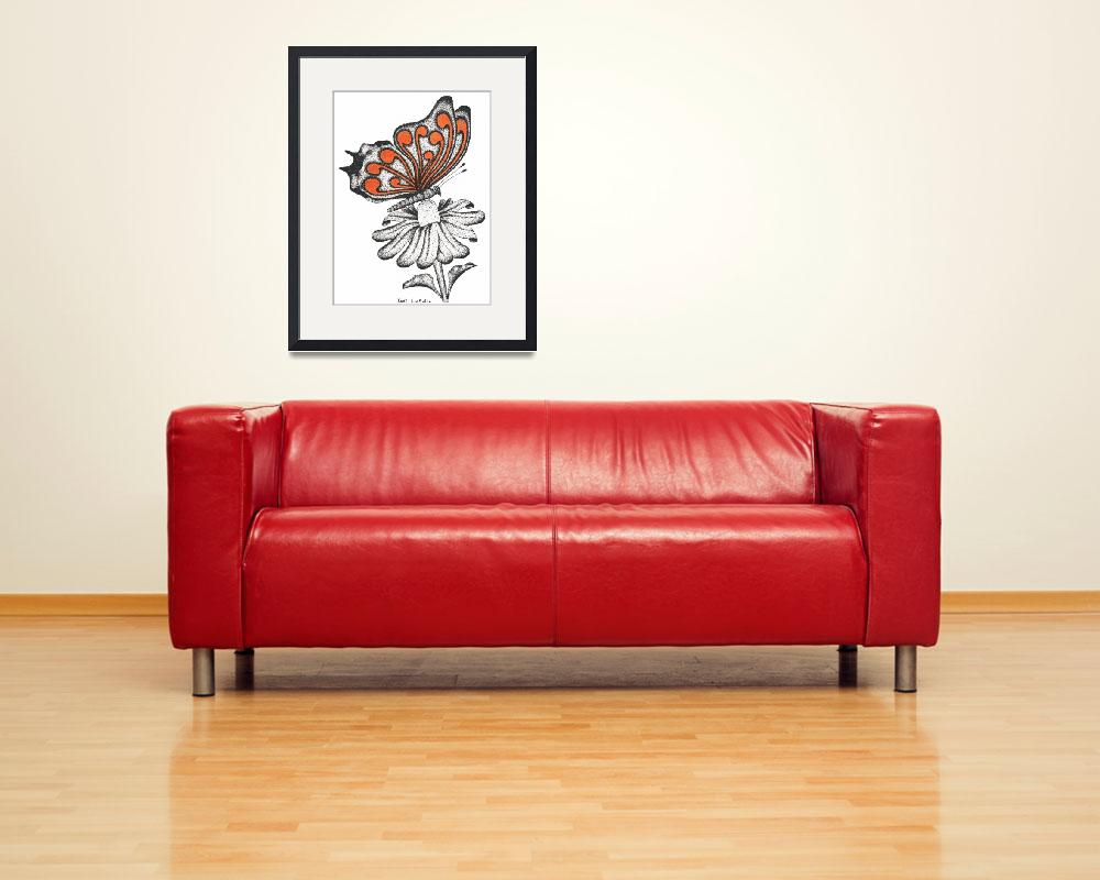 """""""Curls #1- Resting Butterfly(Coral)""""  (2012) by JodiLaSalle"""