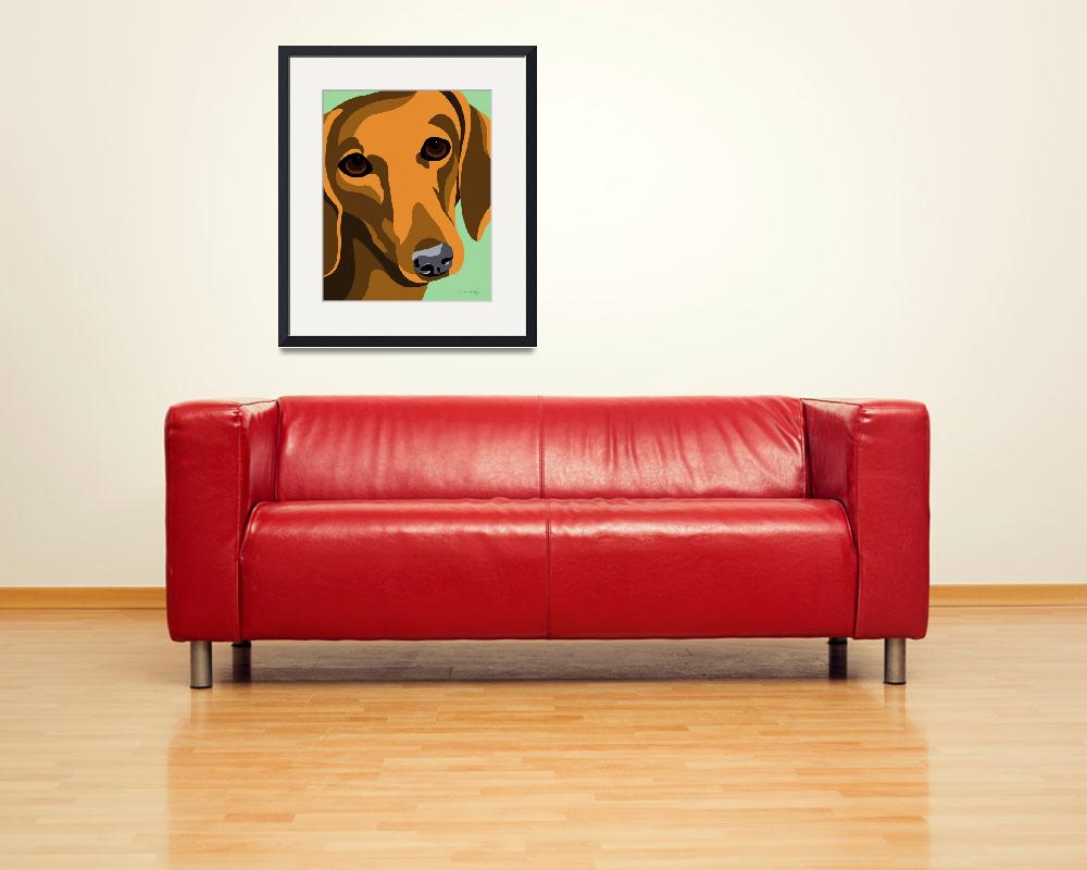 """""""Dachshund&quot  (2010) by waterart"""