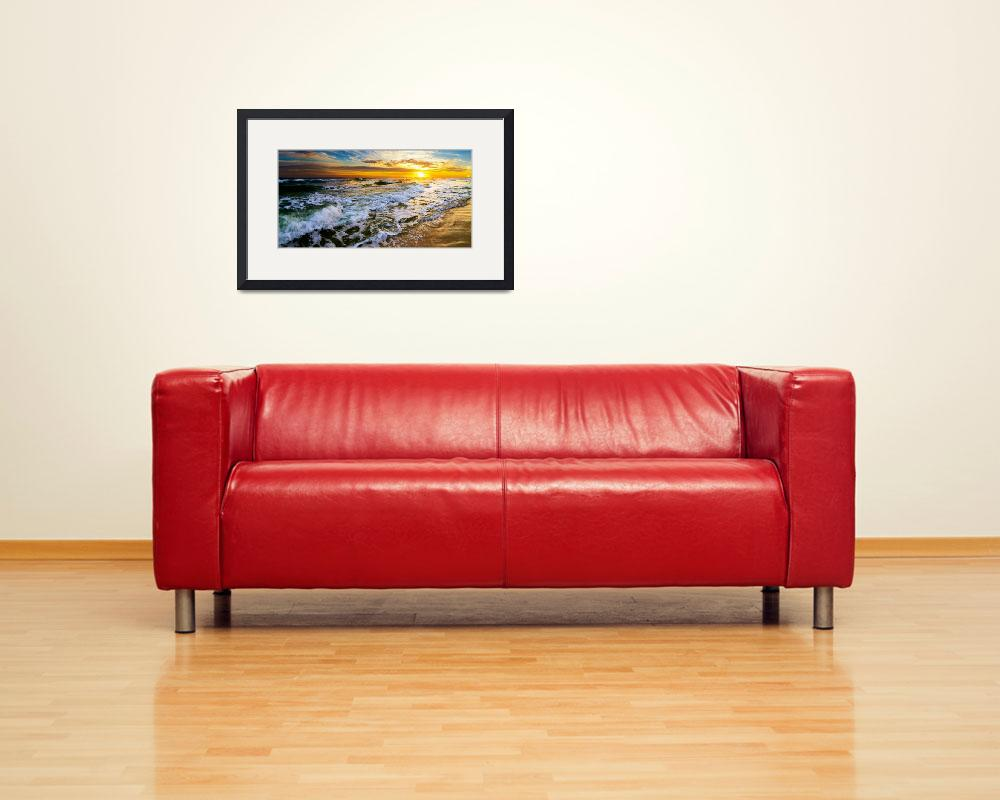 """""""Panoramic Landscape with Beautiful Sunset Prints&quot  (2014) by eszra"""