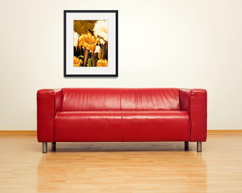 """""""Posters Gold Yellow Floral 2a""""  (2010) by shanmaree"""