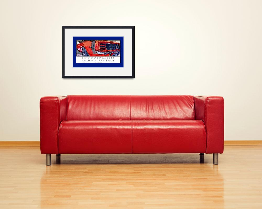 """""""1969 Camaro RS SS Poster Blue Border&quot  (2008) by Automotography"""