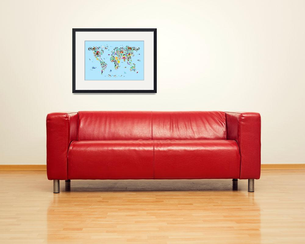 """""""Animal Map of the World for children and kids&quot  by ModernArtPrints"""