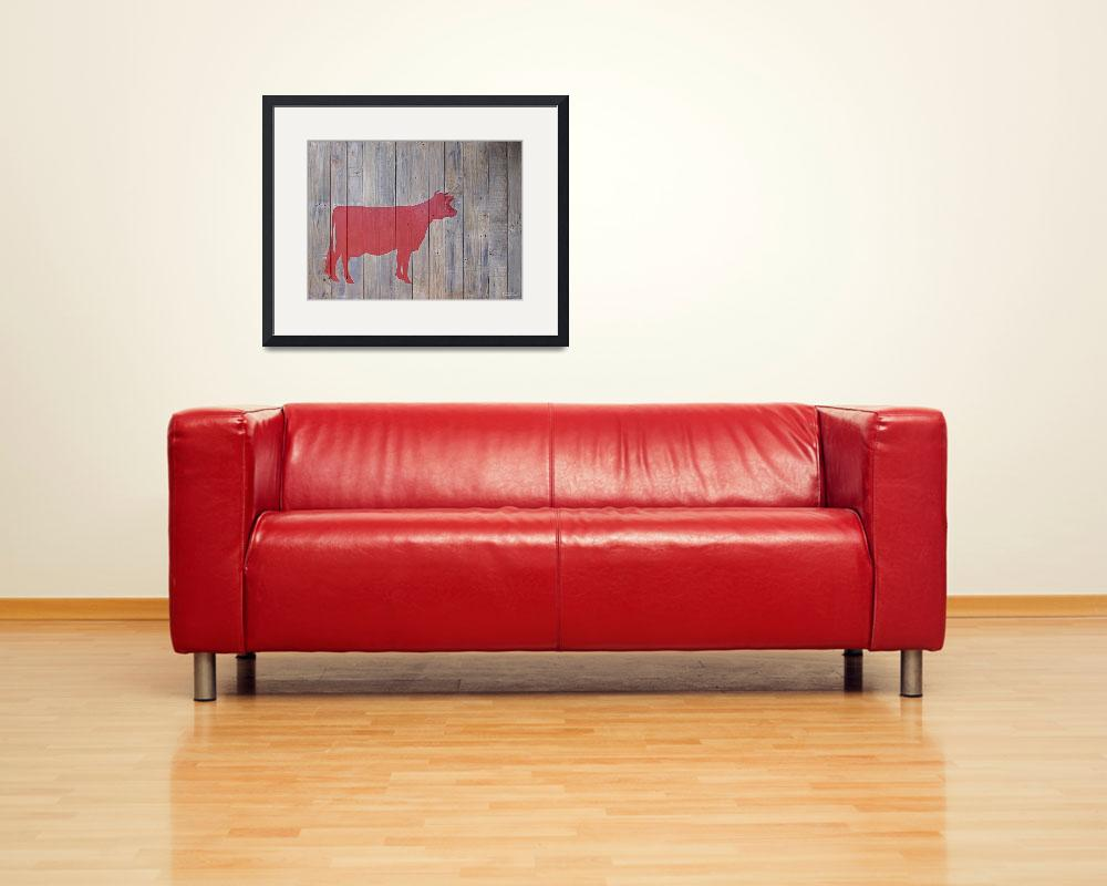 """""""Reclaimed Wood Red Cow Painting&quot  (2012) by LisaKDesigns"""