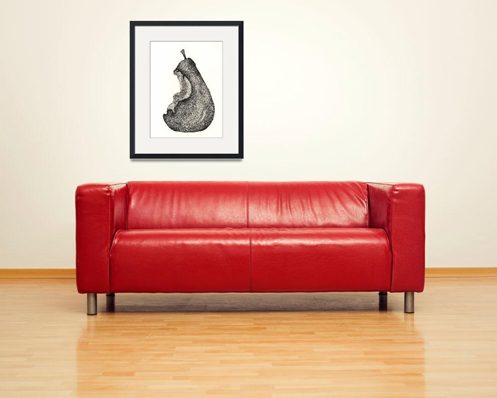 """""""Pen & Ink Fine Artwork Of A Pear&quot  (2011) by drawingwithdots"""