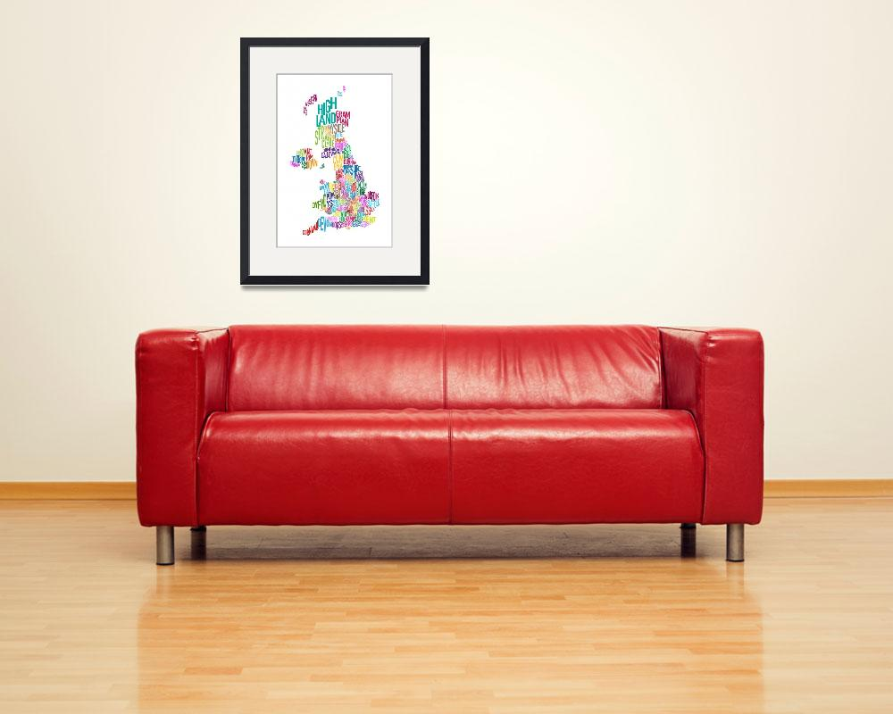 """Great Britain County Text Map&quot  (2011) by ModernArtPrints"