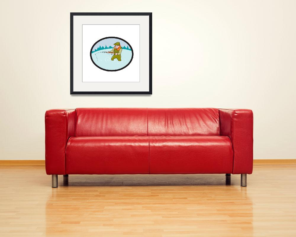 """Fly Fisherman Casting Fly Rod Oval Cartoon""  (2015) by patrimonio"