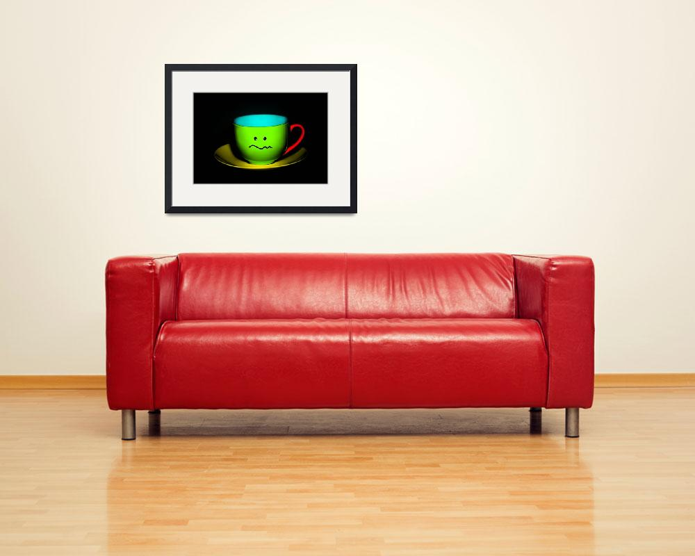 """""""Funny Wall Art - Confused Colourful Teacup""""  by NatalieKinnear"""