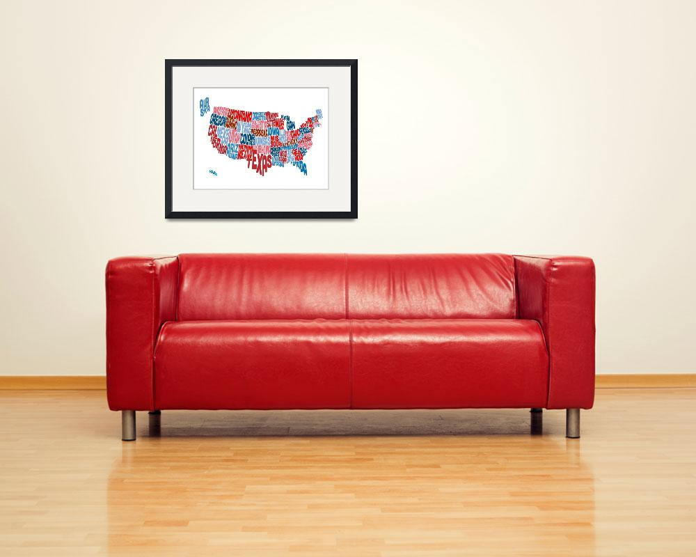 """""""United States Typography Text Map&quot  (2014) by ModernArtPrints"""
