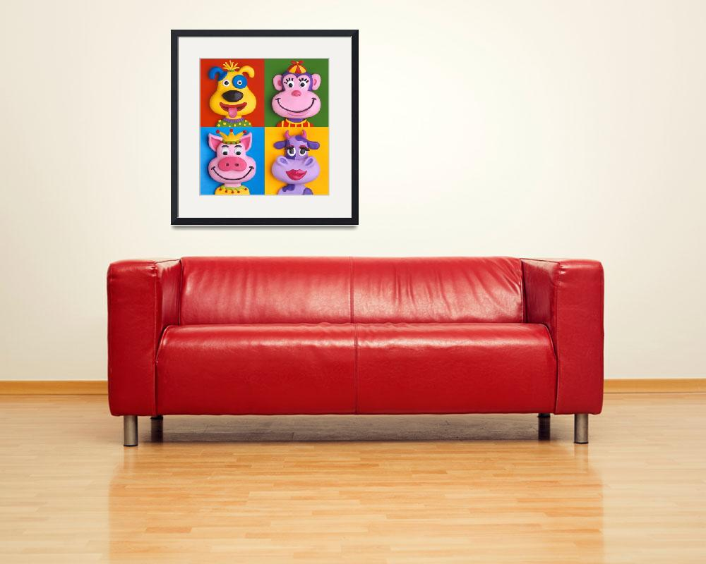"""""""Four Animal Faces&quot  (2009) by AmyVangsgard"""