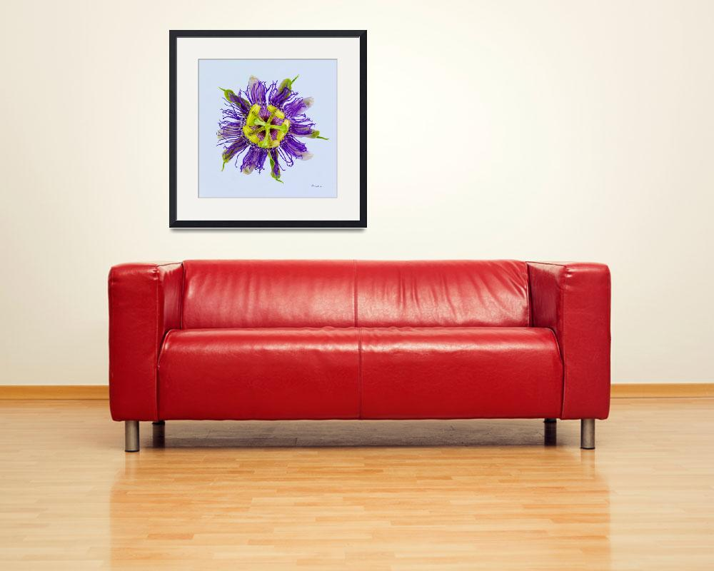 """Yellow Green and Violet Passion Flower 50674b&quot  (2018) by Ricardos"