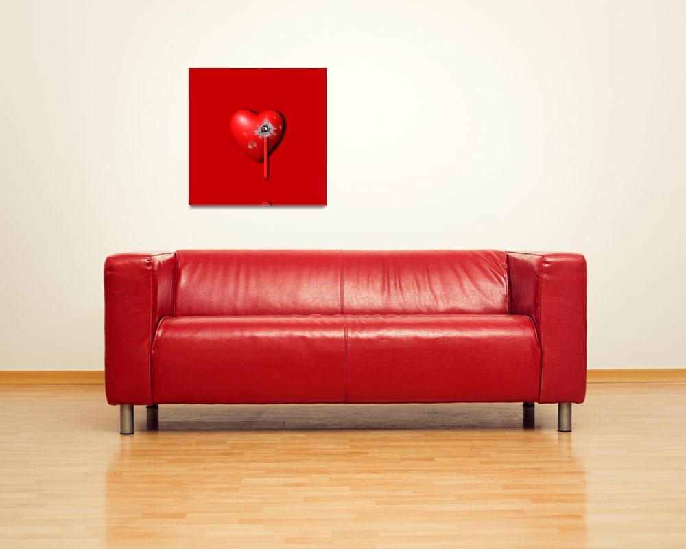 """Heart Series Love Bullet Holes""  (2014) by RubinoFineArt"