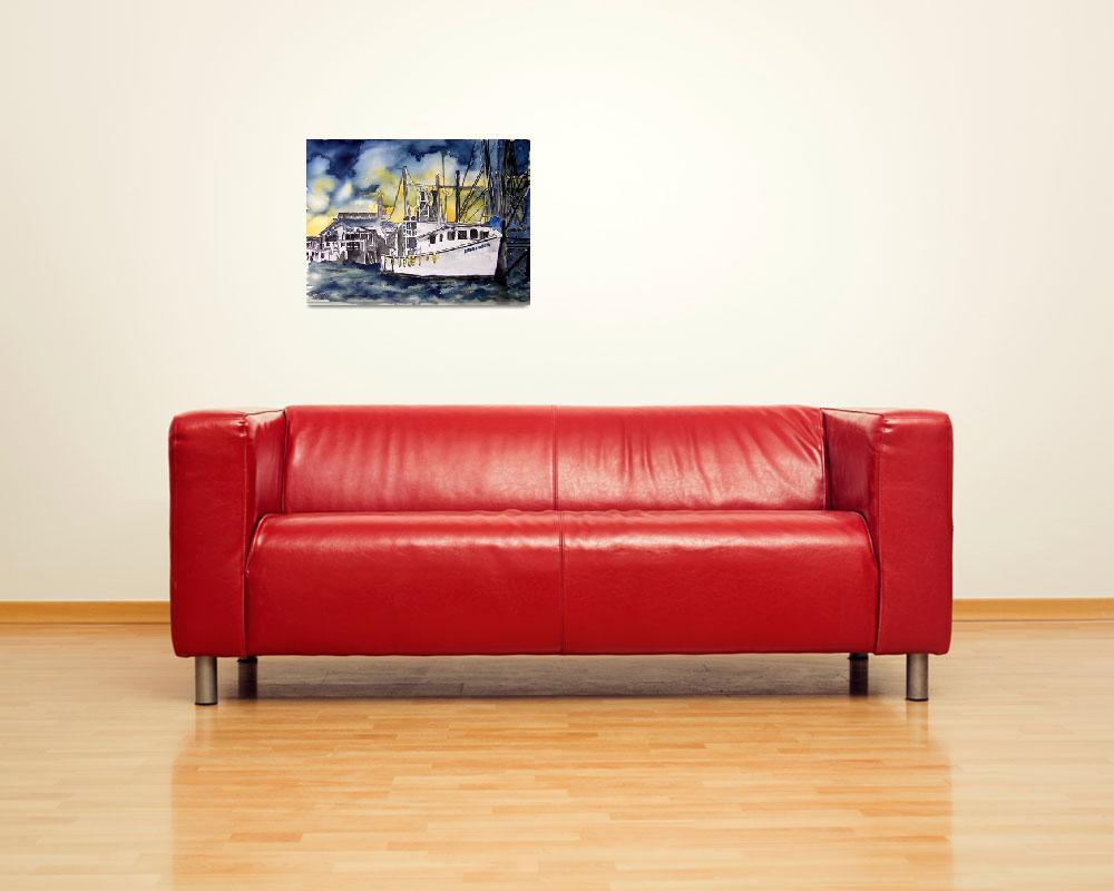 """""""tybee island boat georgia watercolor painting""""  (2008) by derekmccrea"""