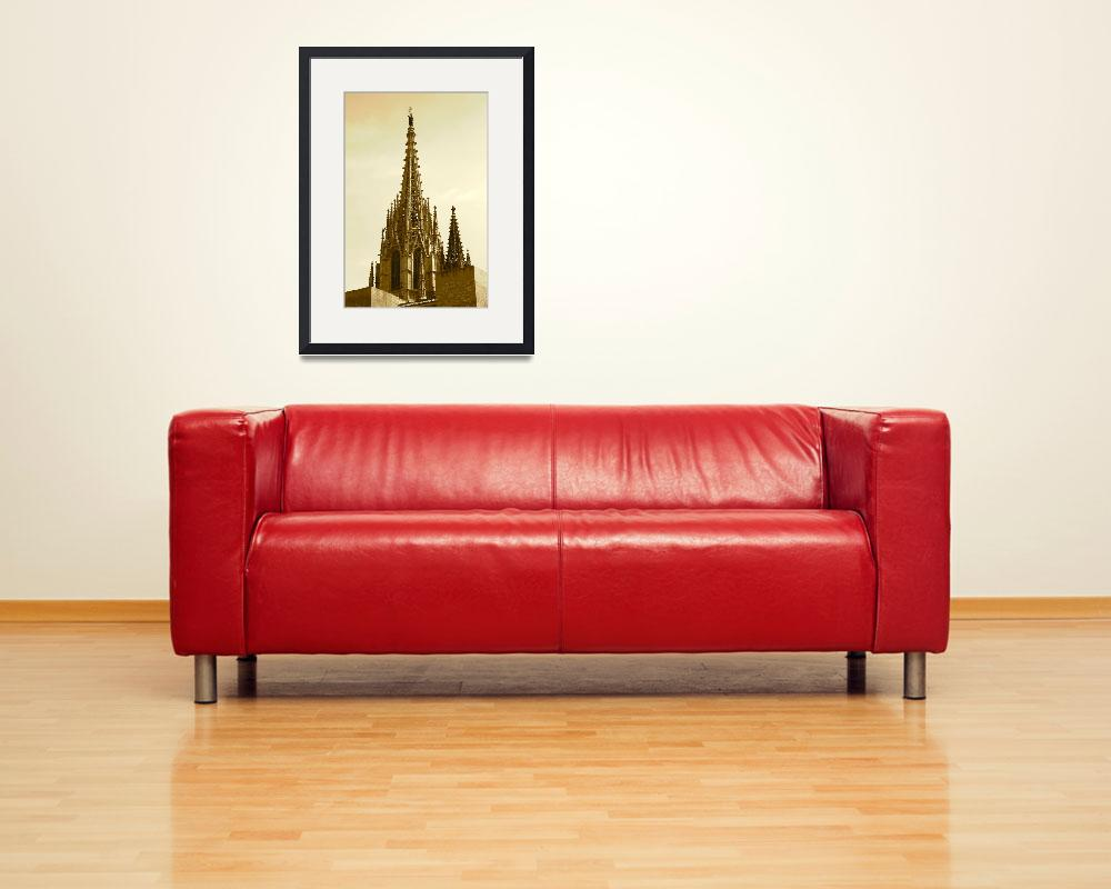 """Barcelona Cathedral Spires in Sepia&quot  (2014) by Groecar"