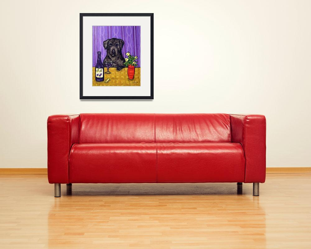 """""""Black Labrador Retriever at the Wine Bar&quot  (2006) by lulunjay"""