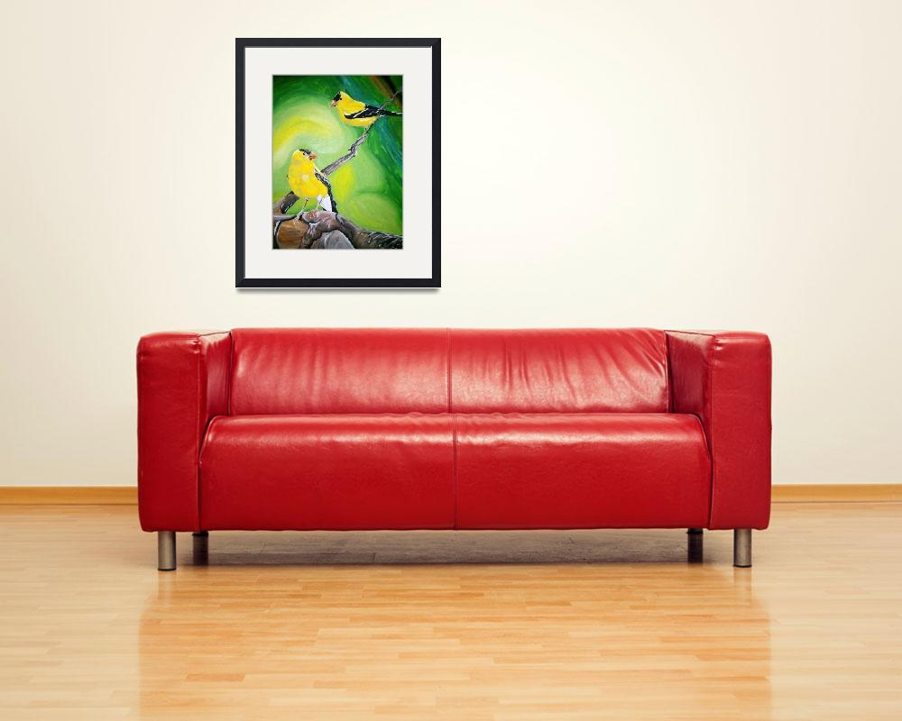 """""""Gold Finches&quot  (2010) by coreymurray"""