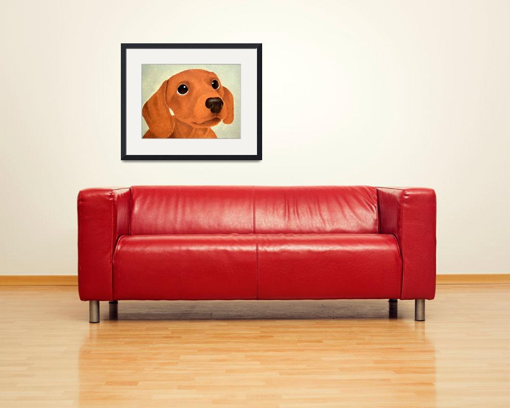 """""""Red Dachshund Dog&quot  (2014) by terrimeyers"""