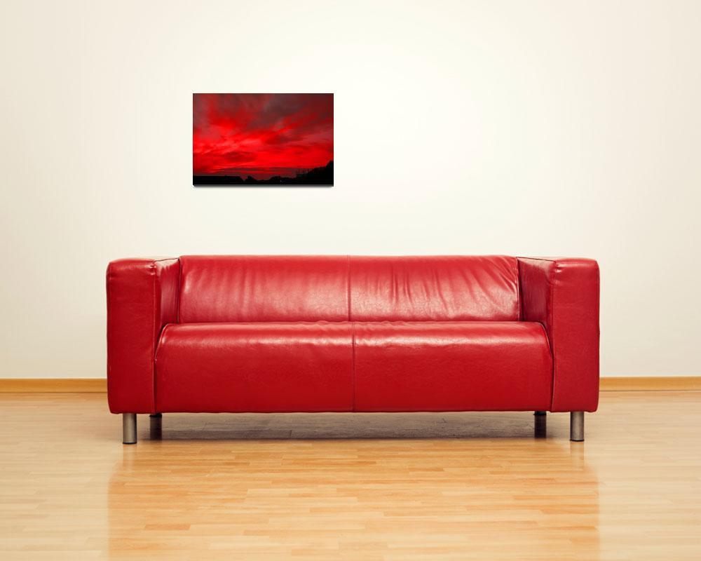 """RED FIRE SUNSET, ISLE OF MAN&quot  (2008) by babooshka"