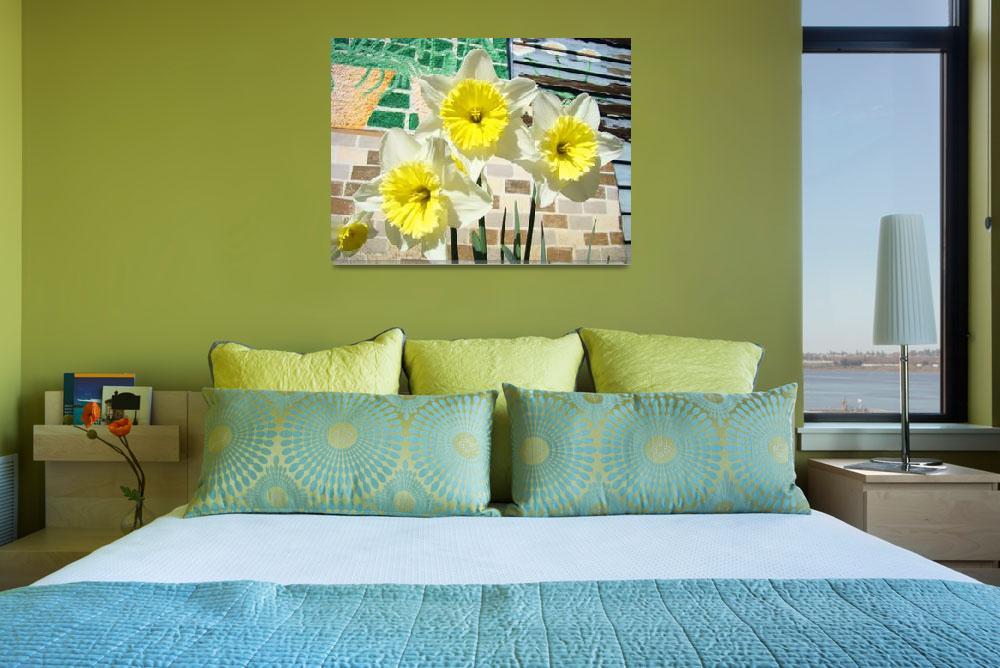 """Daffodils Flower Garden Art Prints Floral Mural""  (2014) by BasleeTroutman"