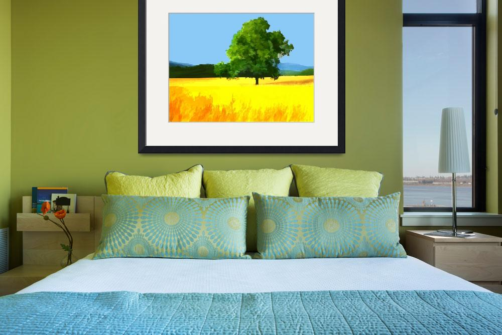 """""""Green Tree in Golden Field&quot  by ElainePlesser"""