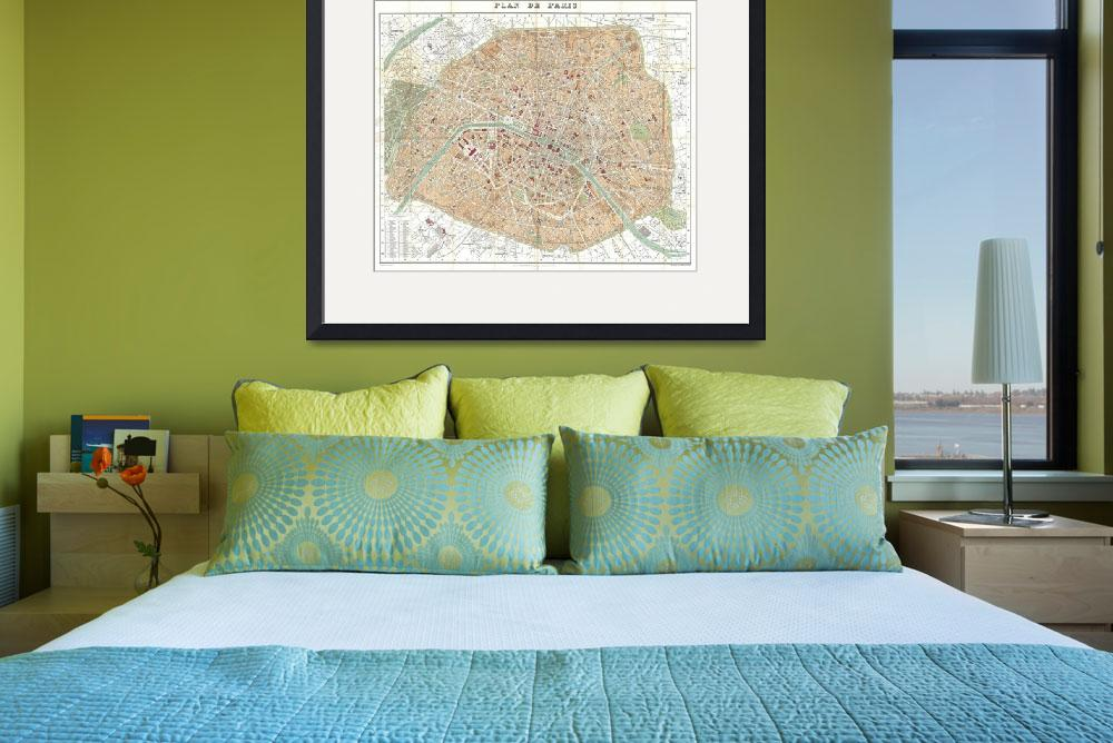 """""""Vintage Map of Paris France (1892)&quot  by Alleycatshirts"""