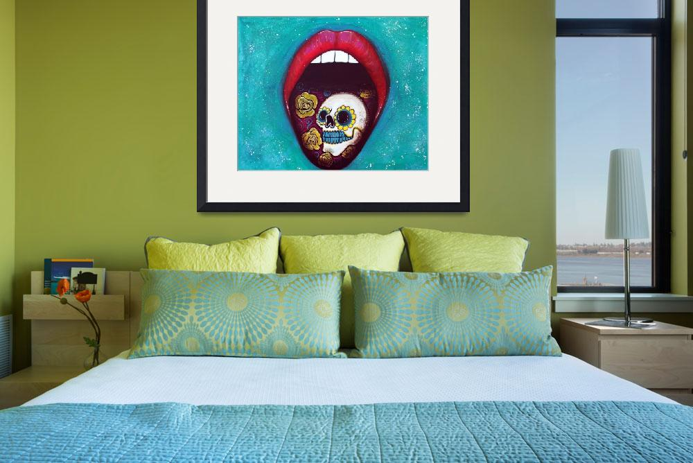 """Mouth Full Of Sugar Skull&quot  (2014) by ArtPrints"