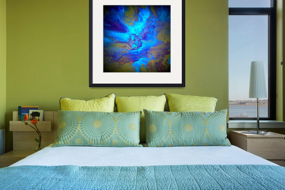 """""""Fluid painting in blue""""  (2014) by LizMoran"""